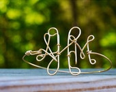 Gold/silver wire monogram bracelet, cuff, bangle