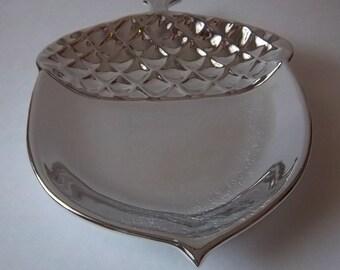 Silver Acorn Platter - Shiny Vintage Home Decor
