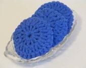 Royal Blue Dish Scrubbies Crocheted of Nylon Net