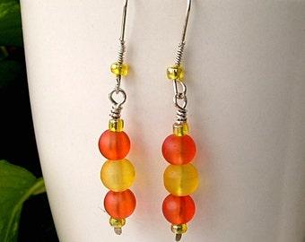 Sale - Beaded Earrings ,Orange and Yellow , Orange Yellow Glass Dangles, JEWELRY SALE