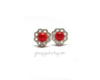 CLEARANCE - Rosy Red Post Earrings - Filigree and Pearl - 10mm Round - Stud Earrings - Christmas Gift - Gifts Under 15