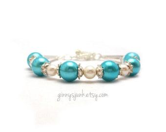 Turquoise Bead and White Faux Pearl Bracelet - 8 Inch Bracelet - Wedding - Something Blue - Bridal