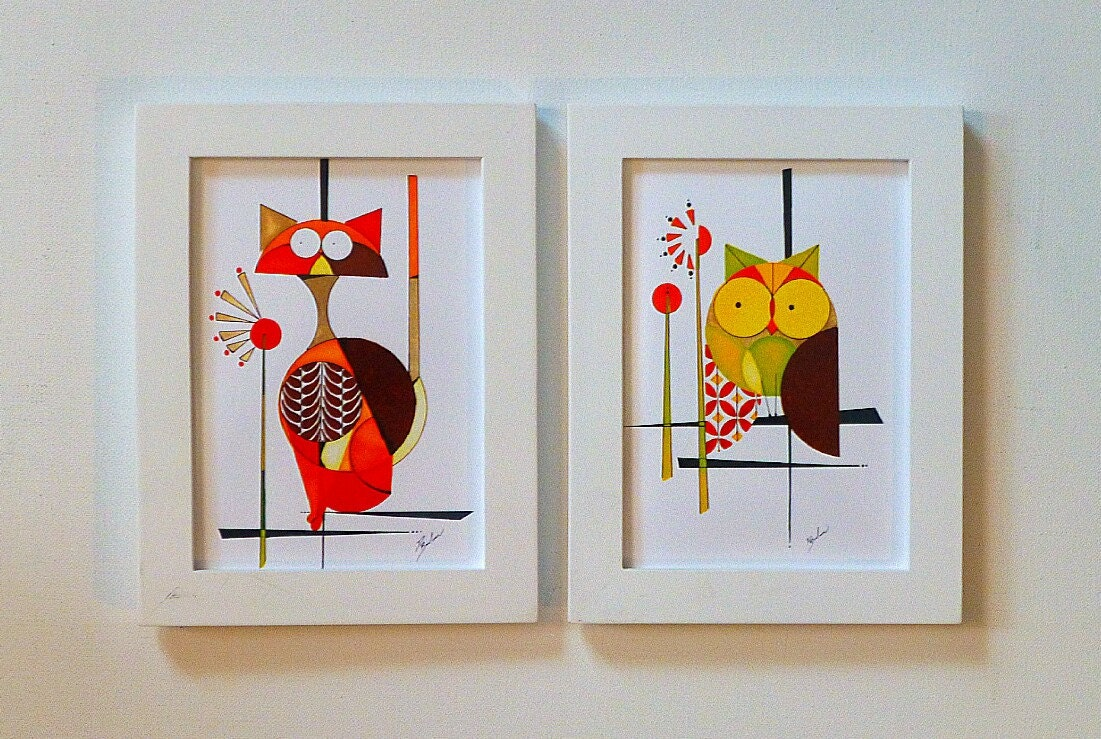 Modern Cat and Owl Painting Two 5x7 prints COLBY and the
