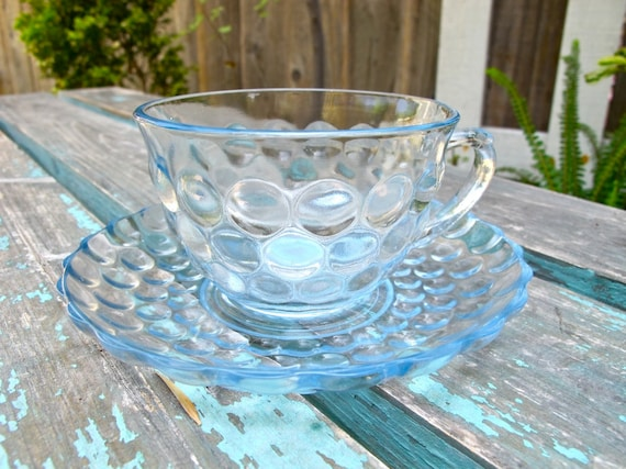 Vintage Blue Glass Teacups, Blue Bubble Glass Teacup and Saucer, Blue Pressed Glass, Epsteam