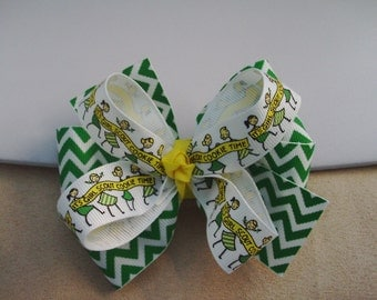 Hair Bow Clip - Chevron Ribbon Hair Bow - Green Yellow White Hair Bow - Twisted Boutique Bow - Layered Hair Bow - Boutique Hair Bow