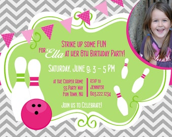 Bowling Party Invitations for Girl Chevron - Bowling Birthday Invites Girl Pink Lime Grey - Bowling Party Invites Girl - Bowling Invitation