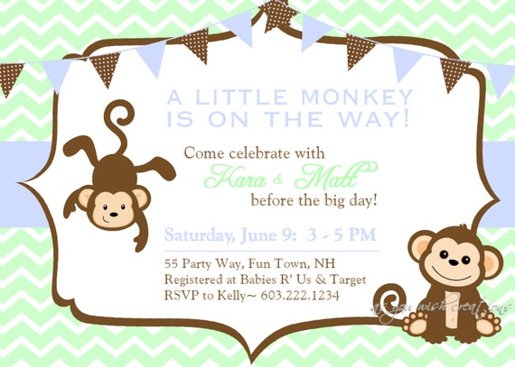 monkey shower invitations printable invitation printable baby shower