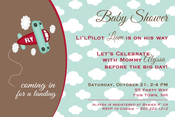 airplane baby shower invitation boy by asyouwishcreationsu, Baby shower