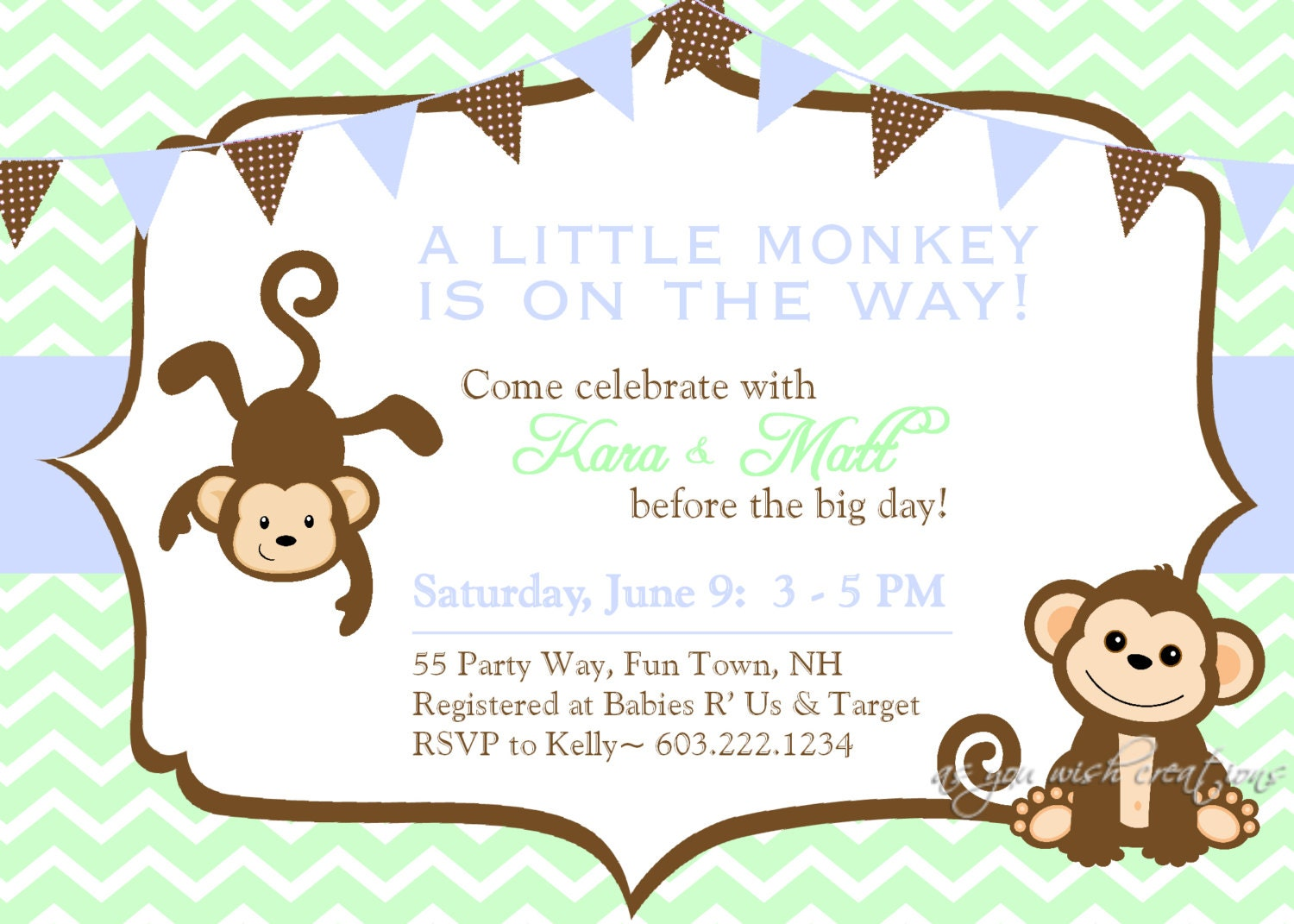 Baby Shower Boy Monkey ~ Baby shower invitation monkey chevron blue by