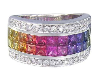 Multicolor Rainbow Sapphire & Diamond Invisible Set Band Ring 14K White Gold (4.3ct tw) SKU: 1532-14K-Wg