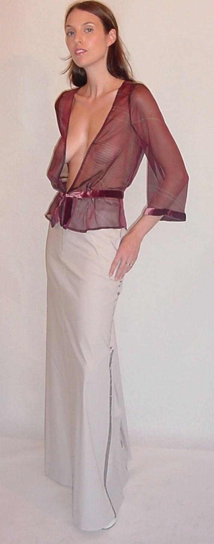 Deco Style Bed Jacket Blouse In Sheer Burgundy Silk Print