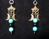 turquoise and moons earrings