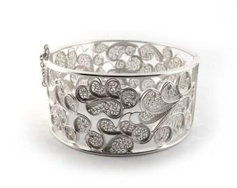Large Cuff Bracelet in Silver Filigree