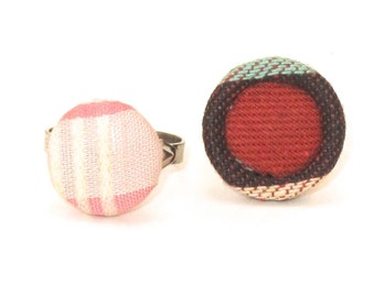 Vintage Button Rings, Button Ring, Upcycled, Eco Friendly, Vintage Button, Fabric Button, Plaid Button, Pink White, Plaid, Stocking Stuffer