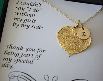 4 Bridesmaid Necklaces, Bride Gift, Real Leaf Necklaces, Thank You Card, Personalized Initial Gold Filled Charm
