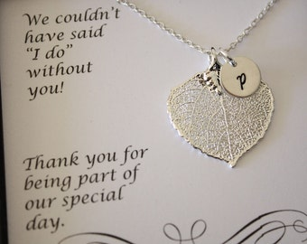 Personalized Bridesmaid Necklace, Bridesmaid Gift, Leaf Necklaces, Thank You Card, Initial Sterling Silver Charm