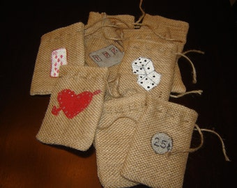 "Set of TEN Hand Painted ""Vegas"" Themed Burlap Gift Favor Bags.  Custom Made"