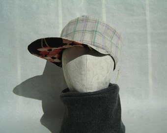 Spring Floral Plaid Military Cap for Women