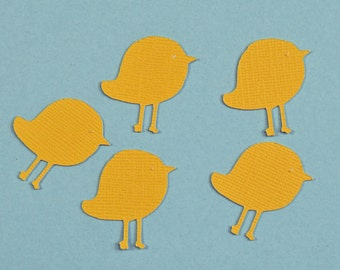 Yellow bird die cuts birds, set of 5, table confetti, scrapbooking, collage supplies