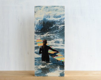 """Surfing Photography, Photo Art Block, Limited Edition Image Transfer on 6""""x14"""" Wood Panel, 'Rainbow Board' by Patrick Lajoie, surf culture"""