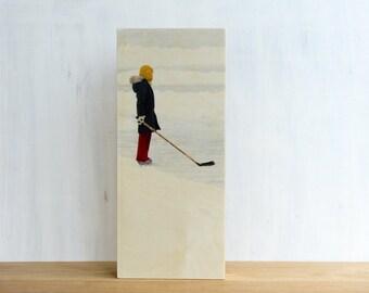 "Hockey Photography, Photo Art Block, Limited Edition Image Transfer on 6""x14"" Wood Panel, 'Sherwood Girl' by Patrick Lajoie, pond hockey"