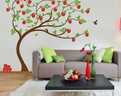 Apple Tree vinyl Wall Sticker. Tree with apples leaning in the wind with birds    210 x 190cm / 82 x 75 inches