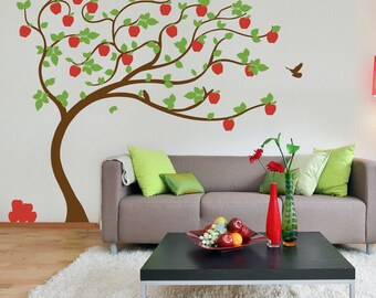 Apple Tree vinyl Wall Sticker. Tree with apples leaning in the wind with birds |  210 x 190cm / 82 x 75 inches