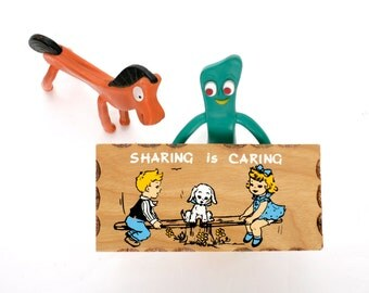 Vintage Sharing is Caring Wooden Sign 1970s