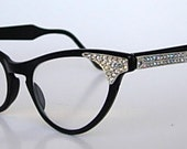 Extraordinary Art Craft Black Aluminum AB Rhinestones Studded Front & Sides Cat Eye Glasses Smaller Size Eyewear 1950s 50s 1960s 60s Sparkly