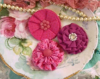 Pink Fabric Flowers Set, Pink Decorative Flowers, Fabric Flowers, Pink Flowers, Scrapbook Flowers, Paper Craft Flowers, Shabby Style, Chic