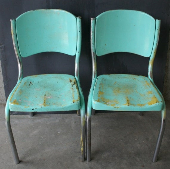 Pair Of Sturdy Turquoise Metal Chairs