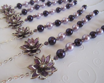 Purple Bridesmaid Necklace Purple Wedding Bridesmaid Gift Purple Flower Bridal Necklace