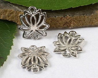 10 Lotus Blossom Charms Small Jewelry Connectors Atq Silver Tone Jewelry Makes Beautiful Earrings 16 x 15 mm