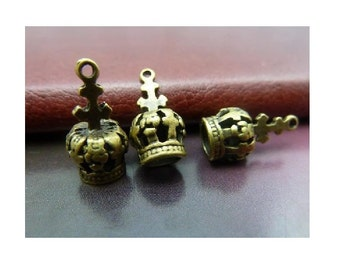 8 Gothic Small CROWN Charms Mini Royal Regal Queen King Princess Little Bronze Tone Charm Jewelry 18 x 7 mm