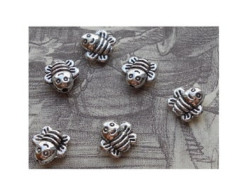 18 Very Small Bumble Bee or Honey Bee Spacer Beads for Thread or Wire 8 x 8 mm Mini Bees Beads