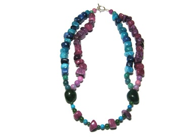 925 Sterling Silver Turquoise Fossil Aventurine Chinese Quartzite Pink Amethyst Aqua Green Semiprecious Statement Necklace