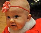 Red and White Shabby Chic Headband, Baby Headbands, Baby Girl Headbands, Infant Headbands, Baby Bow, Girl Headbands