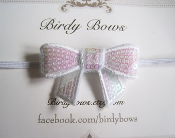 White Sequin Bow Headband, Baby Headbands, Infant Headbands, Girl Headbands, Baby Girl Headbands, Baby Bow