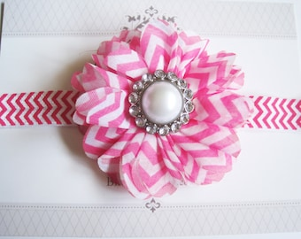 Hot Pink Chevron Flower Headband, Baby Headbands, Newborn Headbands, Infant Headbands, Baby Girl Bow, Infant Hair Bow,
