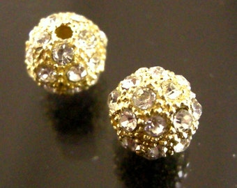 4pc 12mm Golden Alloy Rhinestone Beads AAA QUALITY-6202