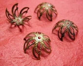 30pieces antique bronze filigree bead caps-1400B