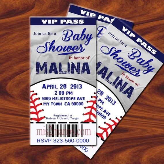 BASEBALL BABY Shower Invitation Printable Ticket DIY