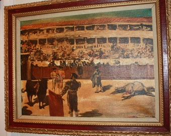 Bullfight Painting Matador Fine Art in Acrylic on Canvas, Perfect Man Cave Den Art