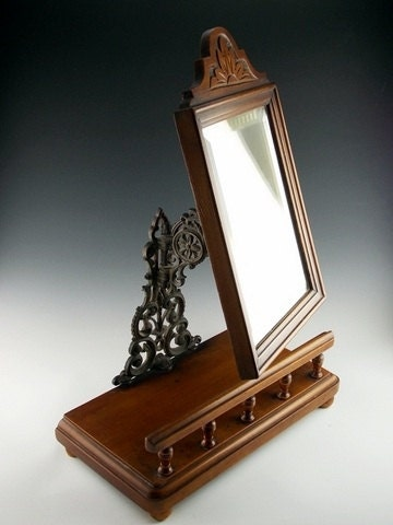 victorian vanity mirror in hand carved mahogany wood wrought. Black Bedroom Furniture Sets. Home Design Ideas