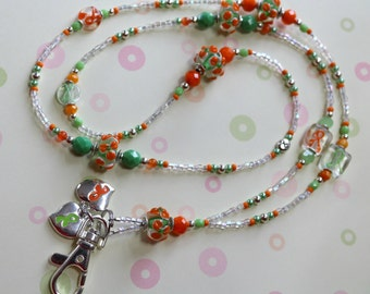 O O A K - Lampwork Glass Beaded Lanyard ID Badge Holder - CITRUS SENSATION - Leukemia and Lymphoma Awareness - AW145