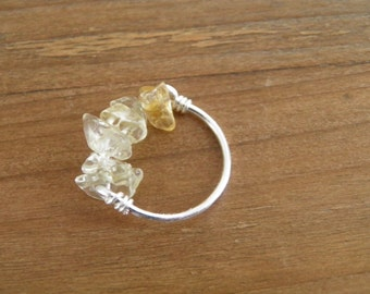 """Ring... """"Sunrise"""" fine sterling silver handmade ring with Citrine chips."""