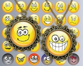 Emotions smiley Circles Digital Collage Sheet  1 inch  Printable round images for pendants cabochon buttons magnets Charms Jpg 009