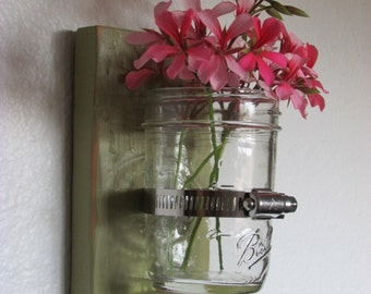 Mason Jar Wall Sconce. Shabby Chic. Primitive Design.