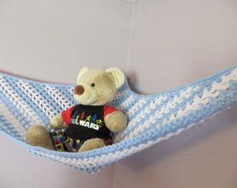 crochet toy   hammock in baby blue and white stripes stuffed animal storage made to stuffed animal     etsy  rh   etsy