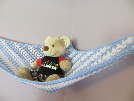 crochet toy net hammock in baby blue and white stripes. Black Bedroom Furniture Sets. Home Design Ideas